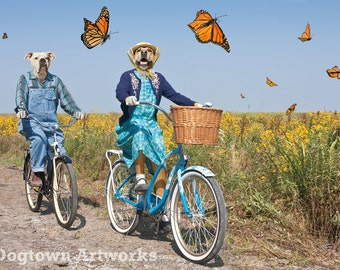 Parade of Butterflies, large original photograph of two boxer dogs riding bicycles with a parade of monarch butterflies
