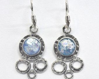 Roman glass earrings dangling sterling silver earrings Israeli roman glass jewelry
