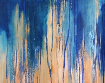 """Rain 12 Original Abstract Painting, Large Wall Art 33x26"""" UNSTRETCHED Rolled in a tube"""