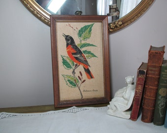 Vintage Framed Linen Bird Picture Wall Hanging Kay Dee Towel Hand Print Baltimore Oriole