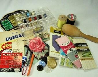Vintage Sewing Supplies Destash Lot Reuse, Repurpose- Needles, buttons, snaps, bobbin case
