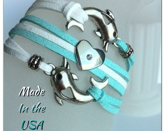 I love Dolphins bracelet,  Dolphin Charm bracelet, Dolphin Friendship bracelet. Dolphin Jewelry. Friendship gift. Dolphin layer bracelet.
