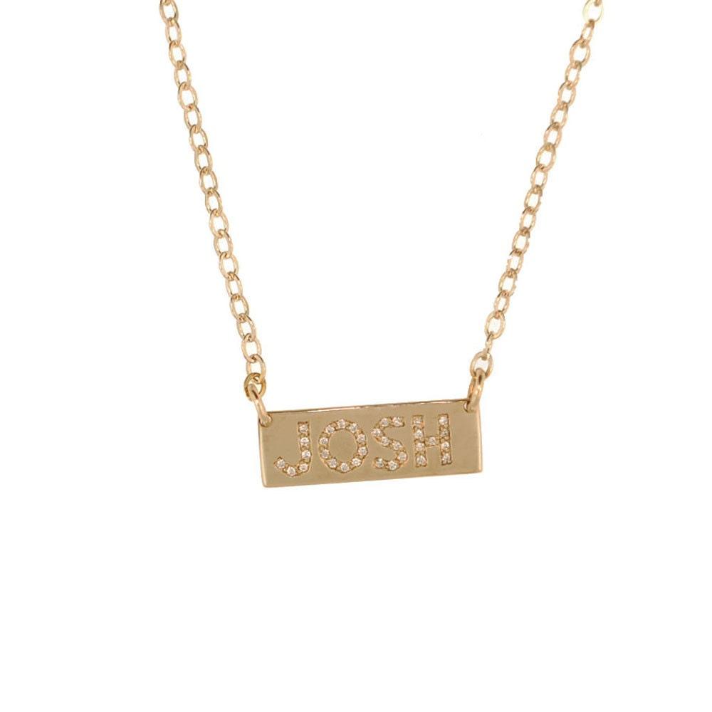 pave diamond 14k nameplate necklace custom gold jewelry. Black Bedroom Furniture Sets. Home Design Ideas