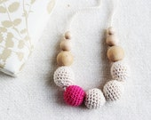 Winter raspberry necklace  - nursing necklace breastfeeding teething toy statement jewelry strand necklace - rusteam ohtteam