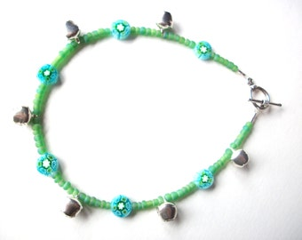 Gypsy bell anklet, beaded green blue millifiore and silver bells anklet