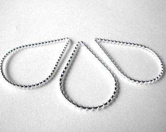 Silver teardrop frames, wire wrapped teardrop hoop pendants, lot of 3 jewelry supply