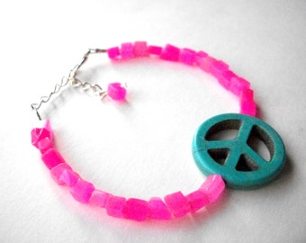 Peace sign bracelet, hot pink quartz turquoise magnesite peace sign adjustable gemstone bracelet with silver chain, hippie jewelry