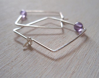 square ear wires with amethyst