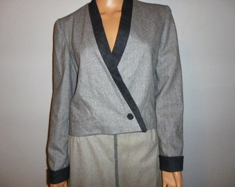 Vintage 1950's - Grey - Wool - Crop - Jacket - Coat - Bust 39""