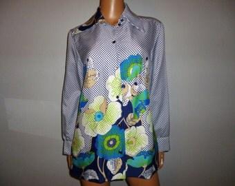 "Vintage 1970's - Op Art - Polka Dot - Floral - Long Sleeve - Satin - Silky  - Opalescence Button -  Women's Blouse -  42"" bust size"