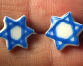 Mini Blue Star of David Earrings Handmade Ceramic Porcelain Jewelry