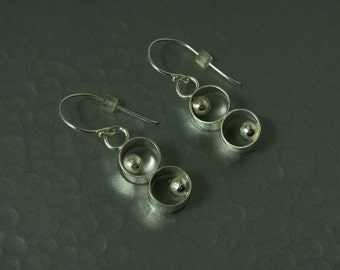 Planets, sterling silver round dangle earrings