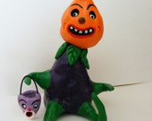 Vintage Style Halloween Folk Art  Pumpkin Head Veggie Man with Turnip Bucket   OOAK