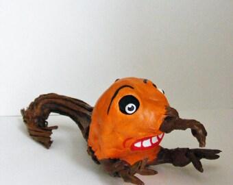 Pumpkin Stem Goblin Halloween Folk Art Doll Weird Odd  OOAK