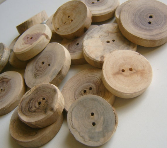 110 Tree Branch Buttons Handmade Wooden Button 1 inch
