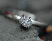 Prong-Set Rough Large Diamond Stacker Ring in 14k White or Yellow Recycled Gold- Size C Diamonds