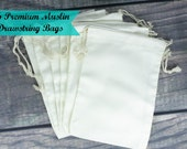 Set of 6 Premium Muslin 5 x 7 Drawstring Bags for Favors, Weddings, Parties, or Gifts
