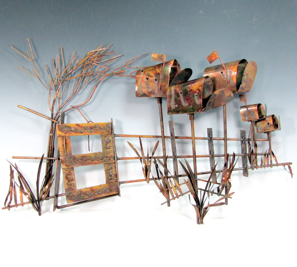 Vintage COPPER Wall Art Sculpture Beachcomers By ShootingCreek