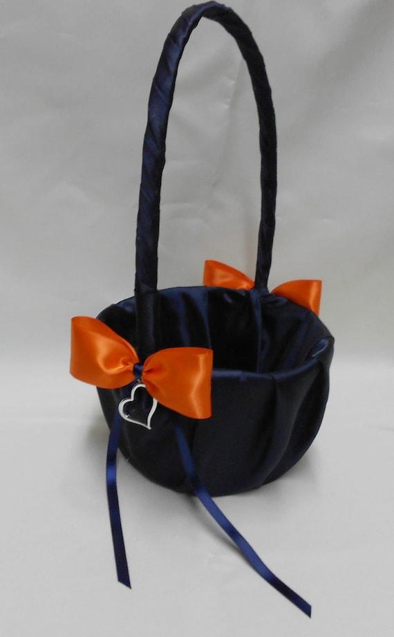 Navy Blue Orange Wedding Bridal Accessories By