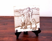 "Antique Mintons China Works ""Village Life"" Series Tile"