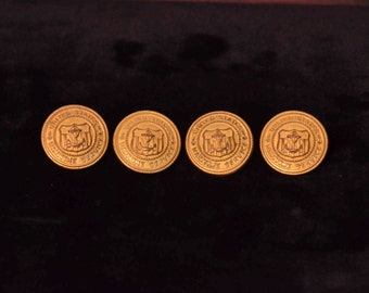 Four Vintage US Maritime Service Brass Uniform Buttons by Waterbury Button Co. WWII Era