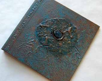 Handmade Journal Distressed Turquoise Copper Sea Jewel Refillable 8x8 Original