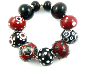 Black Red and Silver Lampwork Beads - Handmade Lampwok Beads - Set of 11 Beads - Fun, Chic, Silver Glass, Dots, Set, Glass - MadeByFire