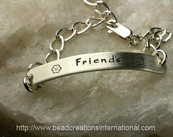 Friends Forever - Best Friend Hand Stamped Bracelet with Sterling Silver Bar and Chain w/ Two Words/Names