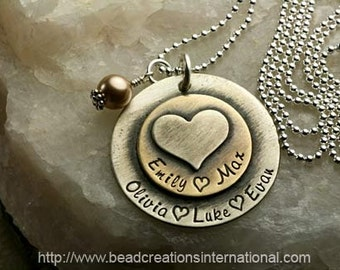 Sterling Silver and Brass Soldered  Necklace with 5 Names w/ Heart Stacked on Top - Hand Stamped Mommy Necklace