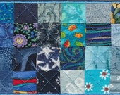 Blue Patchwork Quilt Fabric Postcard