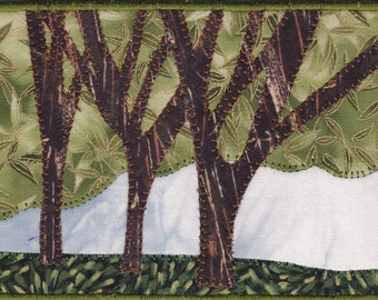 Walk in the Park Quilted Fabric Postcard