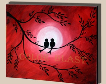 Love is in the air- Love Birds in moon light. Red Moon night sky. Mounted Art. Free Shipping. Ready to be displayed.