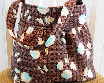 Handmade Gathered  Fabric Bag in Joel Dewberry Ginseng  in Chocolate Brown, Aqua and Cream
