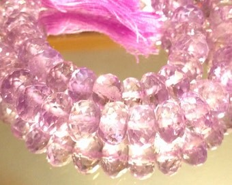 Pink Amethyst Faceted Rondelles AAA 6 beads