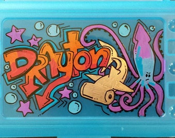 Hand painted, personalized pencil box