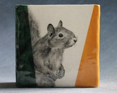 Hand Painted Grey Squirrel Portrait Medium Pencil Box Vase Green Deep Yellow