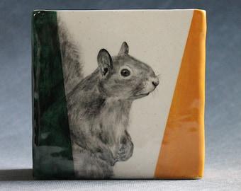 Hand Painted Grey Squirrel Portrait Medium Pencil Box Vase Green Deep Yellow