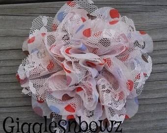 1 Petite Chiffon Lace Flower- Fall Polka Dots/ Ivory Lace- Shabby Chic Frayed Chiffon and Lace Rose Flowers- 3.5 inch