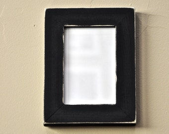 Distressed Black Picture Frame Solid Wood with Glass Backing and Mounting Hardware for 4x6 print