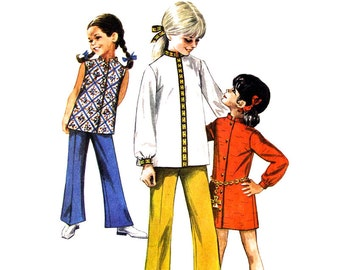 Girls Mini Dress, Top, Bell Bottom Pants Pattern Simplicity 8022 Nehru Collar Girls Size 6 Vintage Sewing Pattern