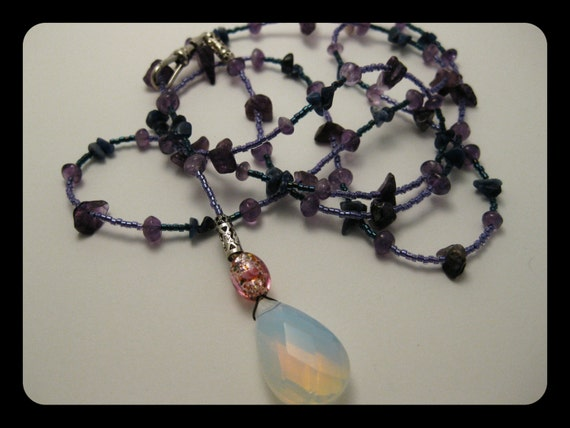 "Hypnotic Blue Translucent Iridescent Sea ""OPAL"" / Opalite Teardrop BEADED BELT w/Pink Metallic Glass, Amethyst & Lapis Lazuli Gemstone Chips"