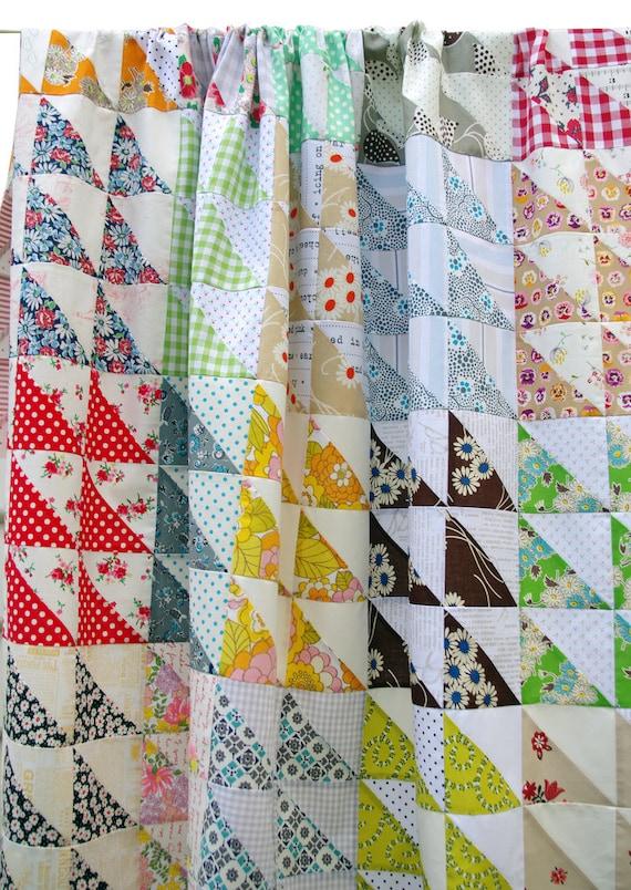 Retro Half Square Triangle HST Quilt Pattern pdf file : quilt patterns triangles - Adamdwight.com