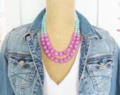 SALE Color Block Necklace Lavender Purple, Aqua Blue Dyed Jade Multi Color Statement Necklace