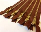 Wholesale metal zippers, FIVE pcs, medium brown 9 inch brass zippers - YKK pumpernickel color 859