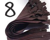 8 Inch brown YKK zippers, Ten pcs, YKK color 570, dress, skirt, pouch zippers, zippers in bulk
