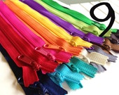 Fifteen 9 inch Handbag zippers, long pull - black, grey, brown, vanilla, navy, turquoise, aqua, purple, green, sunflower, orange, pink, red