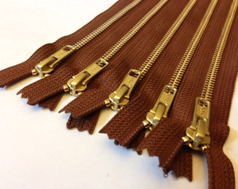 Wholesale metal zippers, FIVE pcs, medium brown 9 inch brass zippers - YKK pumpernickel color 859