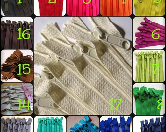 12 inch Handbag YKK zippers, CHOOSE TWENTY pcs - neutrals, red, pink, purple fuchsia, green, turquoise, aqua, orange, yellow