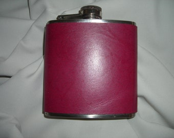 Flask with Kangaroo leather cover Various colors available