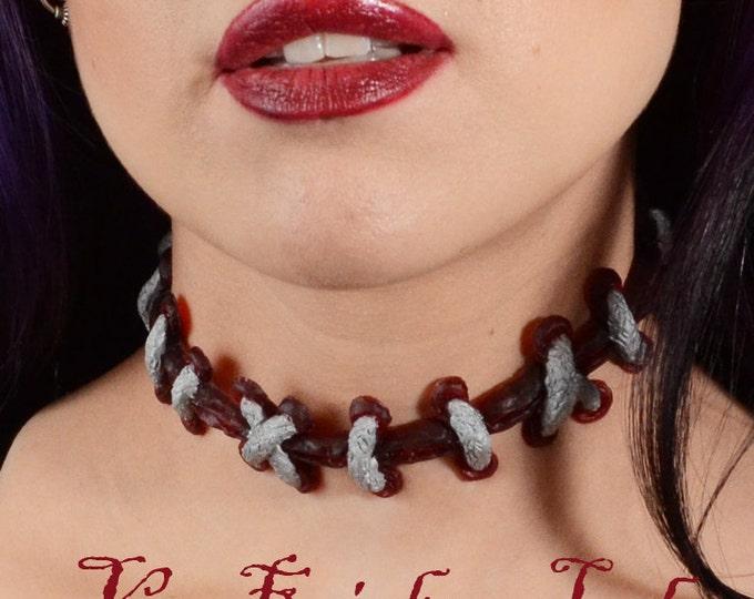 Stitches Necklace - Zombie Frankenstein Monster Stitches choker necklace -Silver extreme stitches on DARK Red